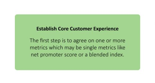 Establish Core Customer Experience